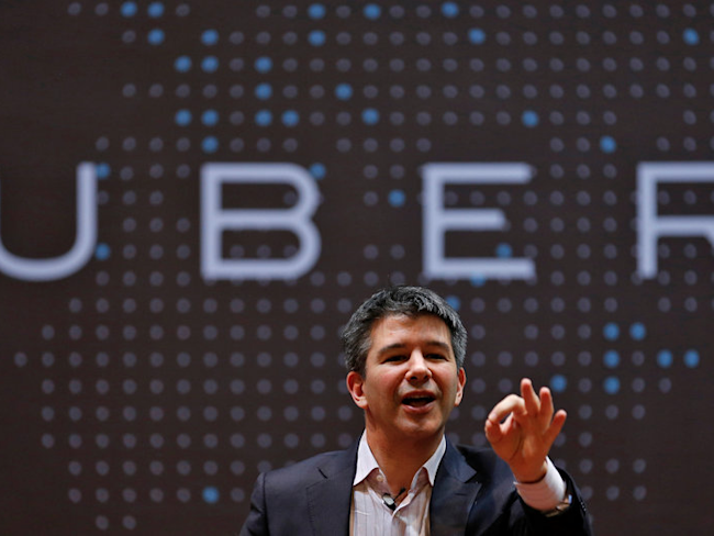 FILE PHOTO - Uber CEO Travis Kalanick speaks to students during an interaction at the Indian Institute of Technology (IIT) campus in Mumbai, India, January 19, 2016. REUTERS/Danish Siddiqui/File photo