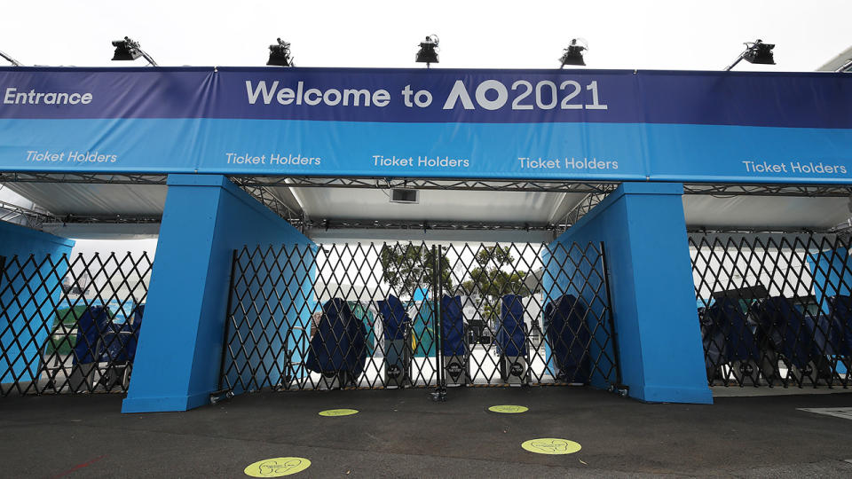 One of the locked entrances at Melbourne Park, pictured here on Saturday.