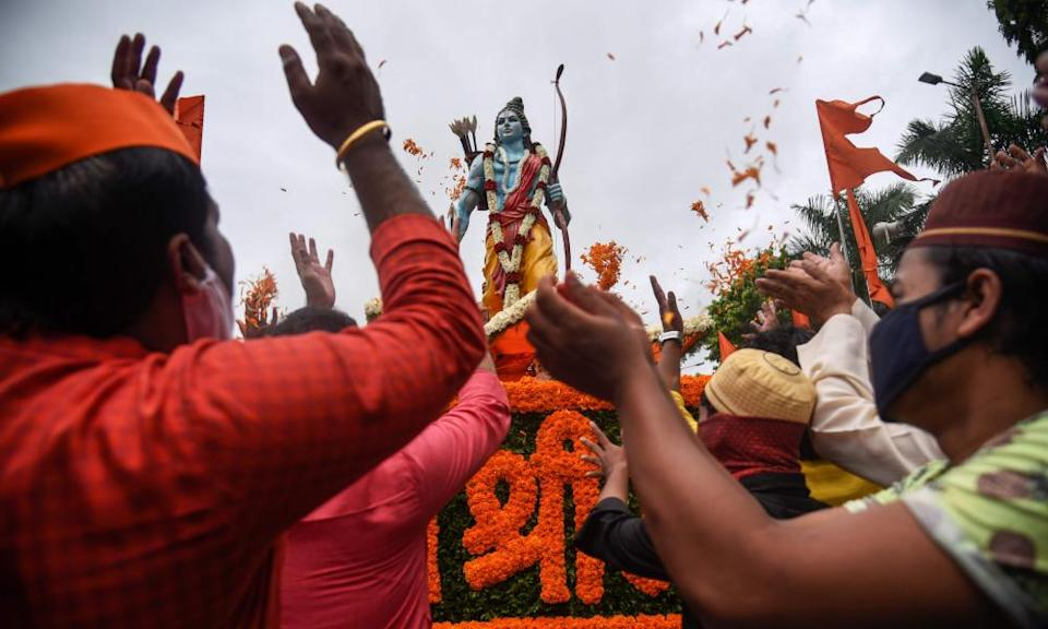 People celebrate around a 7ft statue of Lord Ram in Pune