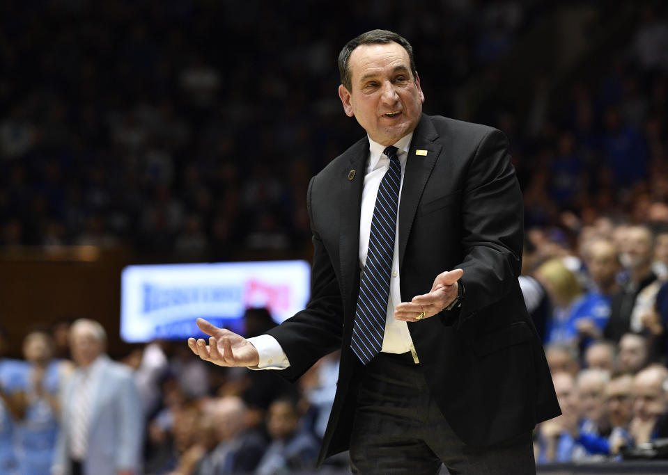 Duke coach Mike Krzyzewski reacts during a game against North Carolina on March 07, 2020. (Grant Halverson/Getty Images)