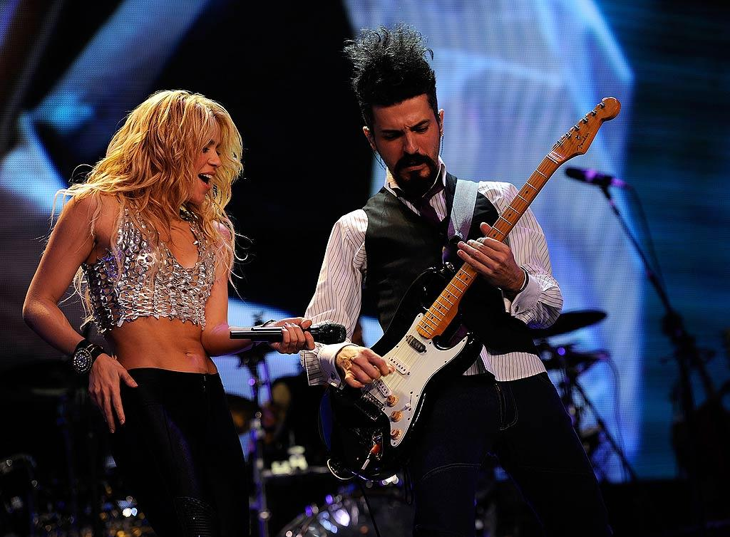 """International pop star Shakira flaunted her fit physique and her distinct voice while performing Tuesday at Madison Square Garden in NYC. Larry Busacca/<a href=""""http://www.gettyimages.com/"""" target=""""new"""">GettyImages.com</a> - September 21, 2010"""
