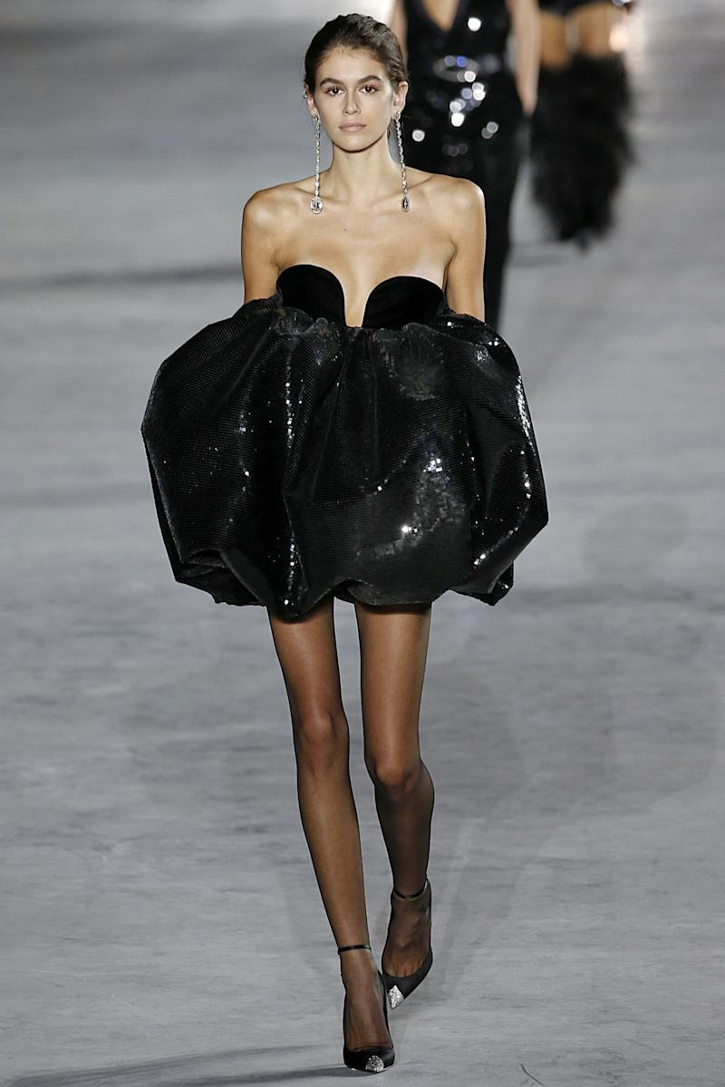 Kaia Gerber walks the runway during the Saint Laurent Ready to Wear Spring/Summer 2018 fashion show as part of the Paris Fashion Week Womenswear Spring/Summer 2018 on September 26, 2017 in Paris, France. (Photo by Victor VIRGILE/Gamma-Rapho via Getty Images)