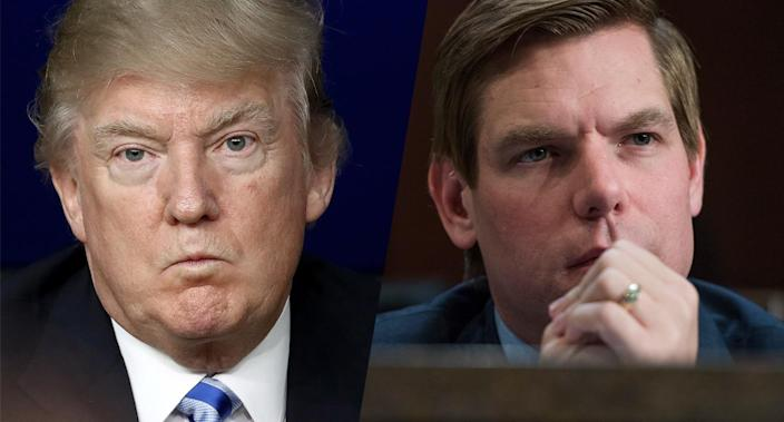 President Trump and Rep. Eric Swalwell, D-Calif. (Photos: Getty Images)