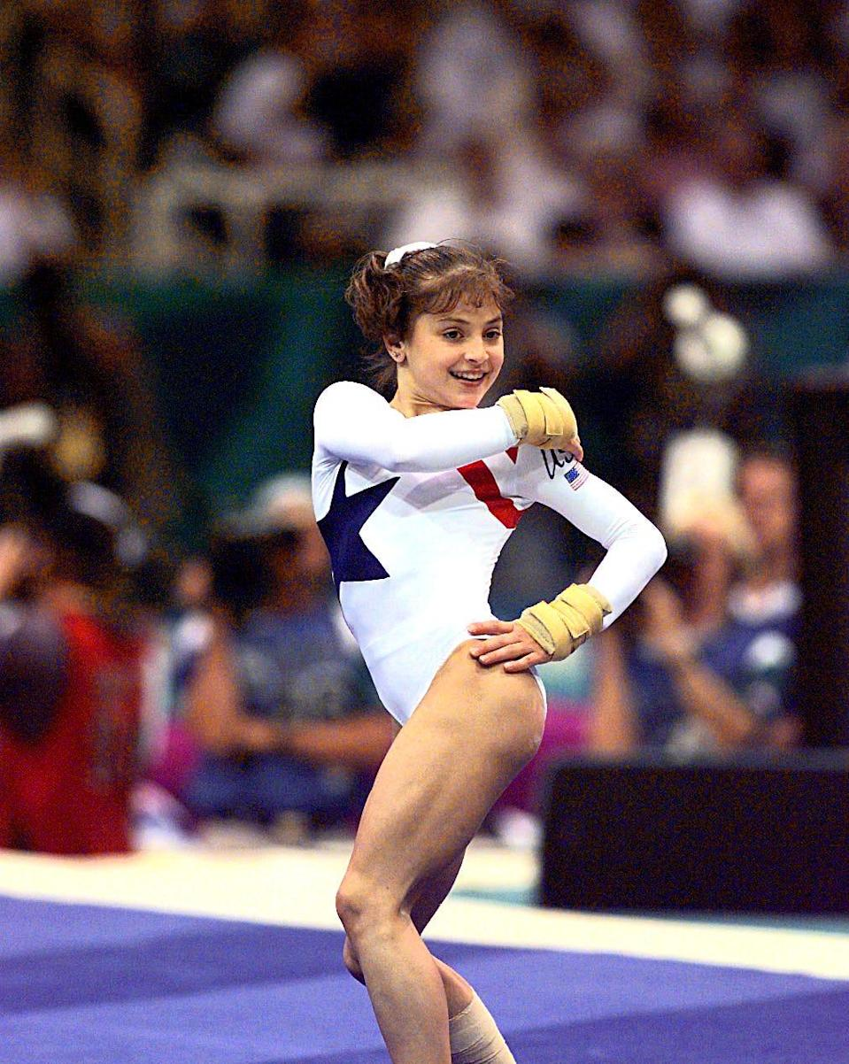 Dominique Moceanu performs a floor excercise at the 1996 Olympic Games in Atlanta.