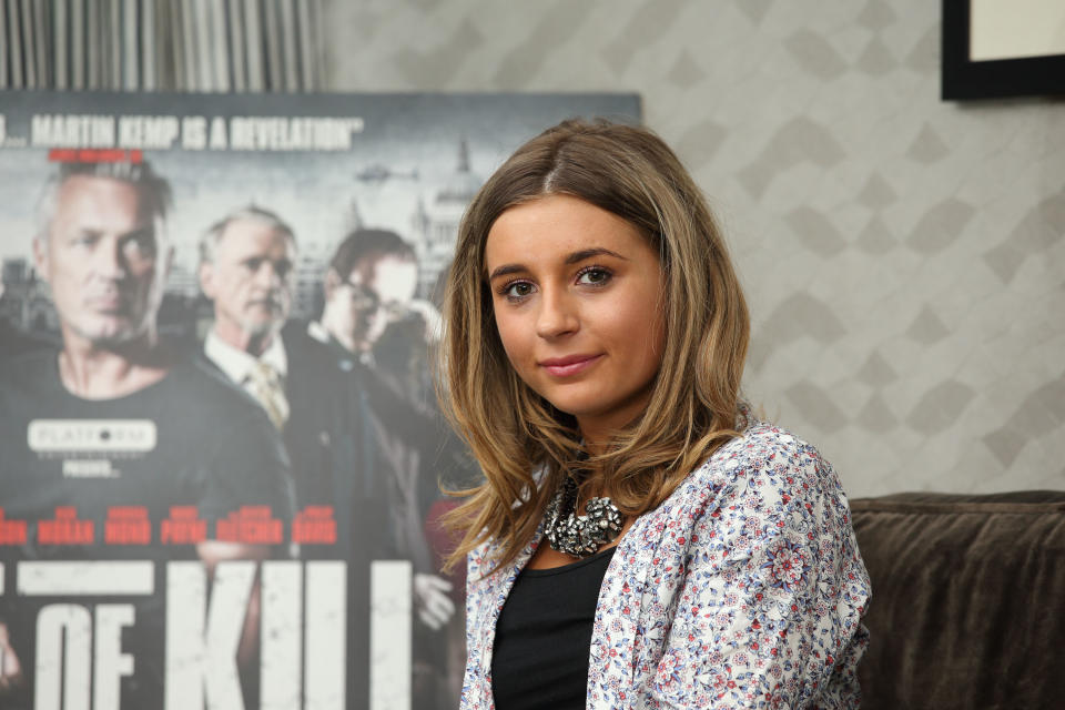 """LONDON, ENGLAND - JUNE 10: Dani Dyer attends photocall for """"Age of Kill"""" at K West Hotel on June 10, 2015 in London, England. (Photo by Mike Marsland/WireImage)"""