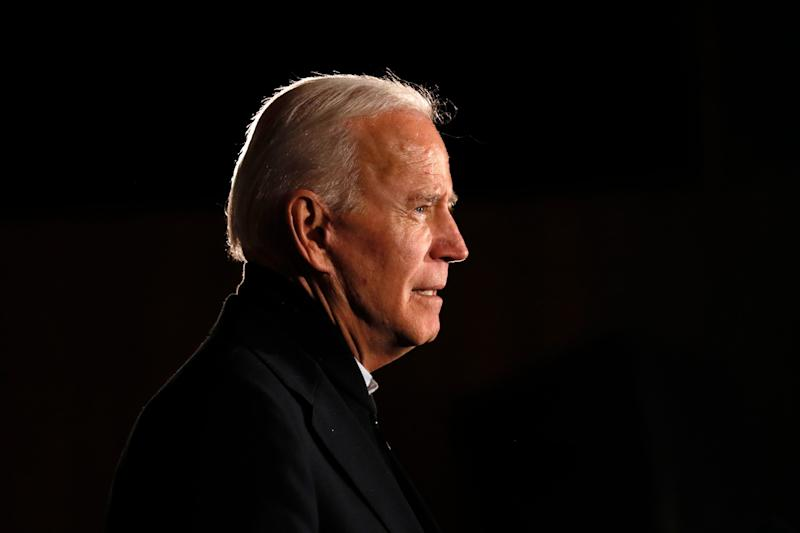 Democratic presidential candidate former Vice President Joe Biden speaks during a town hall meeting in Maquoketa, Iowa, in October 2019.