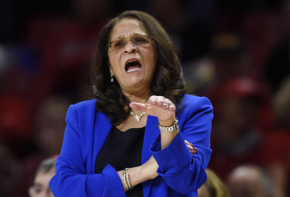 FILE - In this Dec. 31, 2018, file photo, Rutgers coach C. Vivian Stringer talks to players during the first half of the team's NCAA college basketball game against Maryland in College Park, Md. The five Black women, including Stringer, who have been national team assistants helped pave the way for Dawn Staley's historic debut at the Tokyo Games. (AP Photo/Gail Burton, File)