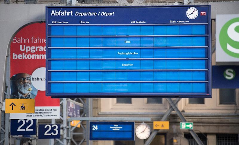 The huge cyberattack wiped out display screens at rail stations in Germany (AFP Photo/Boris Roessler)