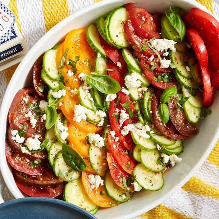 <p>Seek out several varieties of heirloom tomatoes for this simple salad. Sweeter and juicier than conventional tomatoes, they add the perfect pop of color.</p>