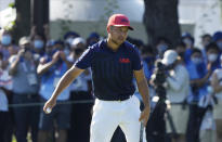 CORRECTS LAST NAME TO SCHAUFFELE FROM SHAUFFELE - Xander Schauffele of the United States celebrates winning gold in the men's golf event at the 2020 Summer Olympics on Sunday, Aug. 1, 2021, in Kawagoe, Japan. (AP Photo/Andy Wong)