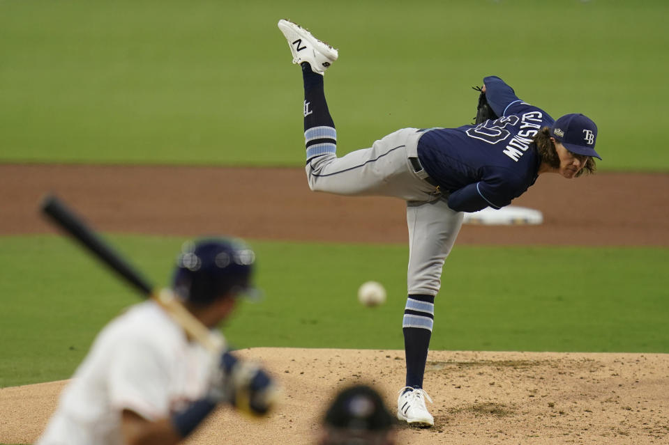 Tampa Bay Rays pitcher Tyler Glasnow pitches to the Houston Astros during the second inning in Game 4 of a baseball American League Championship Series, Wednesday, Oct. 14, 2020, in San Diego. (AP Photo/Gregory Bull)