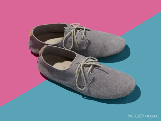 "<p>Sure, if you have enough baggage (plus an army of assistants), you can play diva and bring your entire wardrobe on your next trip. But for those who travel light, easily packable shoes that pull double-duty is a must. These lace-up <a href=""http://www.sanuk.com/womens-shoes/bianca/SWF10796.html?dwvar_SWF10796_color=CHRC#icid=menu_alphie_collection_text&start=1&cgid=alphie-collection"" rel=""nofollow noopener"" target=""_blank"" data-ylk=""slk:loafers"" class=""link rapid-noclick-resp"">loafers</a> are both comfy <i>and</i> stylish for walking around by day and then heading to dinner by night. <i>(Photo: Jon Paterson for Yahoo Travel)</i></p>"