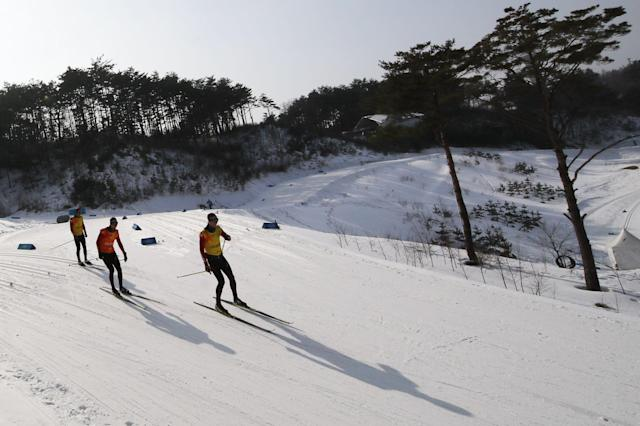 Cross-Country Skiing - Pyeongchang 2018 Winter Olympics - Men's 50km Mass Start Classic Training - Alpensia Cross-Country Skiing Centre - Pyeongchang, South Korea - February 23, 2018 - Athletes from train. REUTERS/Carlos Barria