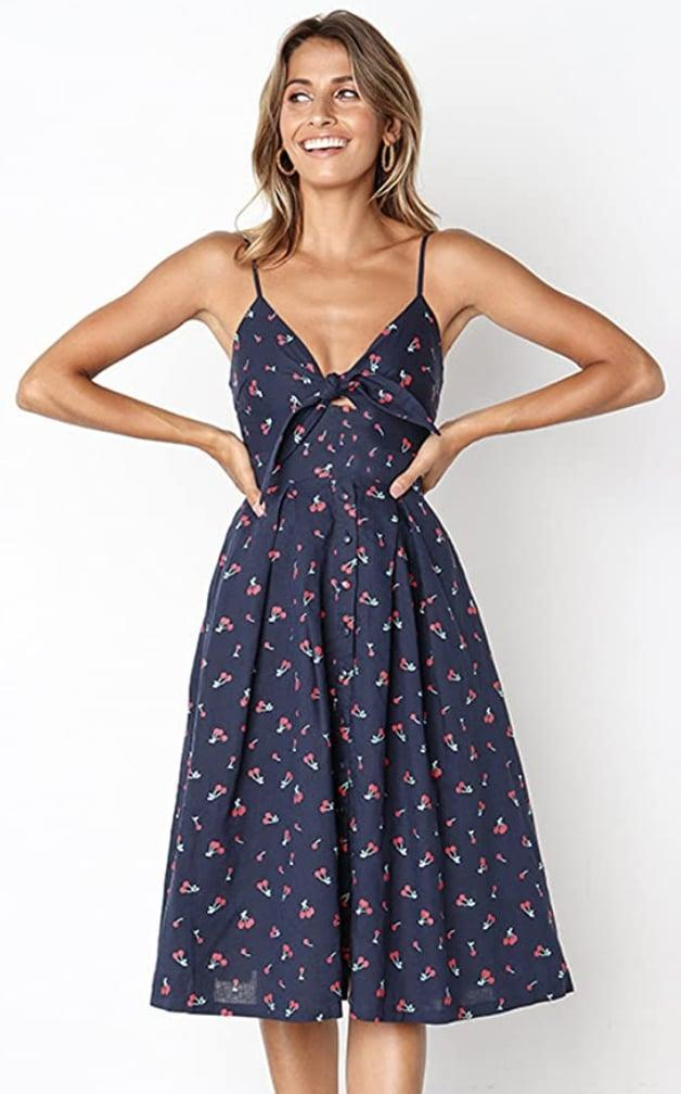 <p>This <span>Ecowish Tie Front V-Neck Midi Dress</span> ($18-$32) will look great with clear sandals, and it comes in several other prints and colors.</p>
