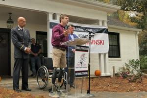 The Tunnel to Towers Foundation paid off the mortgage on the home of U.S. Army Captain Dan Berschinski in honor of Veterans Day.
