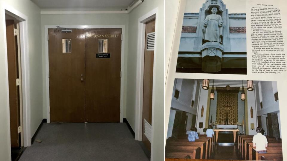 """<div class=""""inline-image__caption""""><p>Left: The doorway to the third-floor Stepinac priest quarters—""""Diocesan Faculty Only. Students Keep Out."""" Right: Inside Peter's Stepinac yearbook, the author finds the photo of the Jesus sculpture and chapel.</p></div> <div class=""""inline-image__credit"""">Courtesy Jenny Grosvenor</div>"""