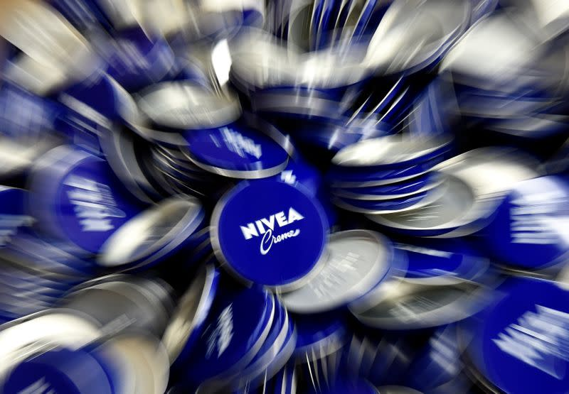 Tins of Nivea skin cream are pictured in a production line of German company Beiersdorf AG in Hamburg
