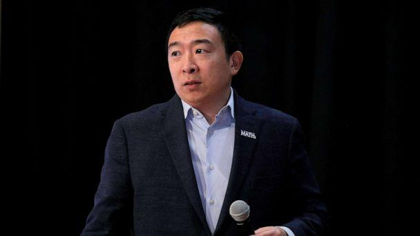 PHOTO: Democratic presidential candidate and entrepreneur Andrew Yang speaks during a campaign event in Milford, New Hampshire, Feb. 5, 2020. (Brendan Mcdermid/Reuters)