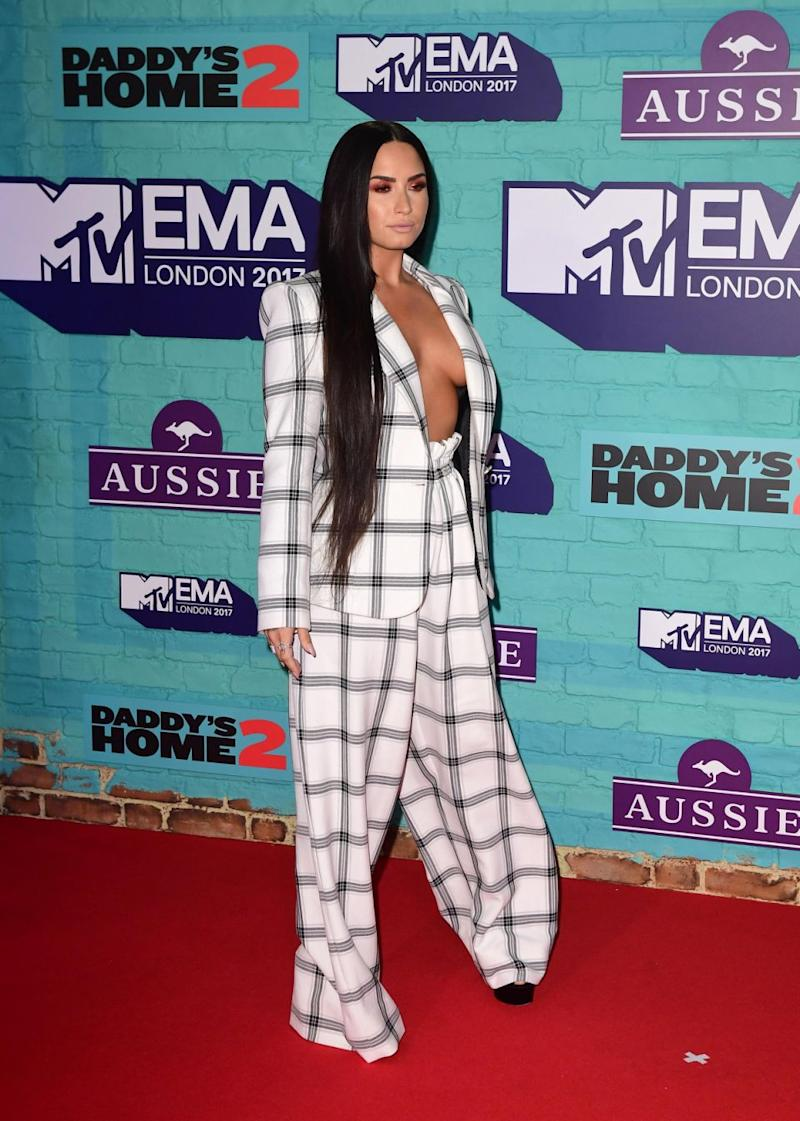 Demi managed to stay in control of her outfit, avoiding a major malfunction. Source: Getty