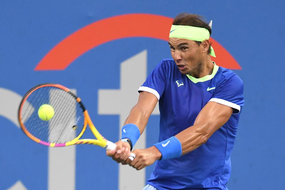 Pictured here, Rafael Nadal returning a shot at the Citi Open in Washington.
