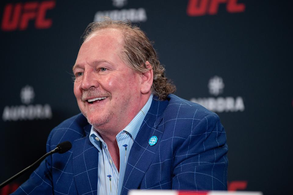 LAS VEGAS, NEVADA - JULY 24:  Terry Booth, CEO of Aurora Cannabis Inc. interacts with media during the UFC - Aurora partnership press conference at the UFC APEX on July 24, 2019 in Las Vegas, Nevada. (Photo by Chris Unger/Zuffa LLC/Zuffa LLC via Getty Images)