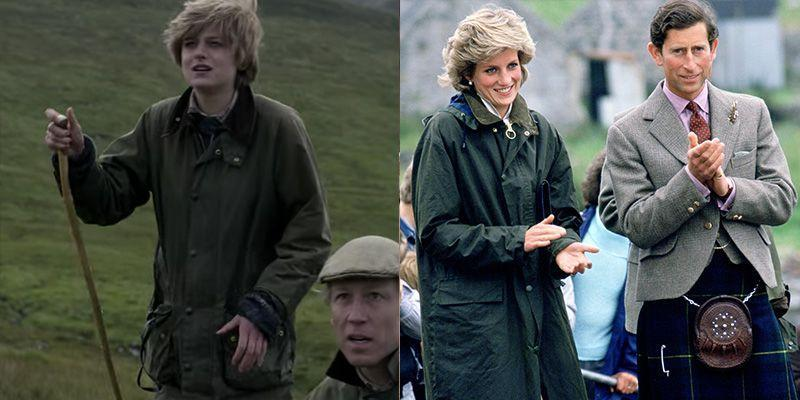 <p>Lady Diana Spencer was a country girl at heart, so it's no question that she had a number of Barbour wax jackets in her closet. <em>The Crown </em>depicts Diana suited up in the posh English outwear just as the Princess was seen wearing in 1985 on a visit to the Western Isles. </p>