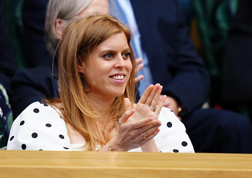 LONDON, ENGLAND - JULY 08:  Princess Beatrice looks on ahead of the start of the Ladies' Singles Semi-Final matches on centre court during Day Ten of The Championships - Wimbledon 2021 at All England Lawn Tennis and Croquet Club on July 08, 2021 in London, England. (Photo by Mike Hewitt/Getty Images)