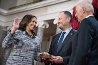 <p>Emhoff held the bible at Harris' swearing in ceremony in January 2017, an action he would repeat at the 2020 inauguration as his wife was sworn in as the first female vice president of the United States. </p>