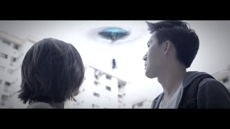 Screenshot of 'If Yishun were a movie' video: alien spaceship in Yishun (Photo: JUO Productions)