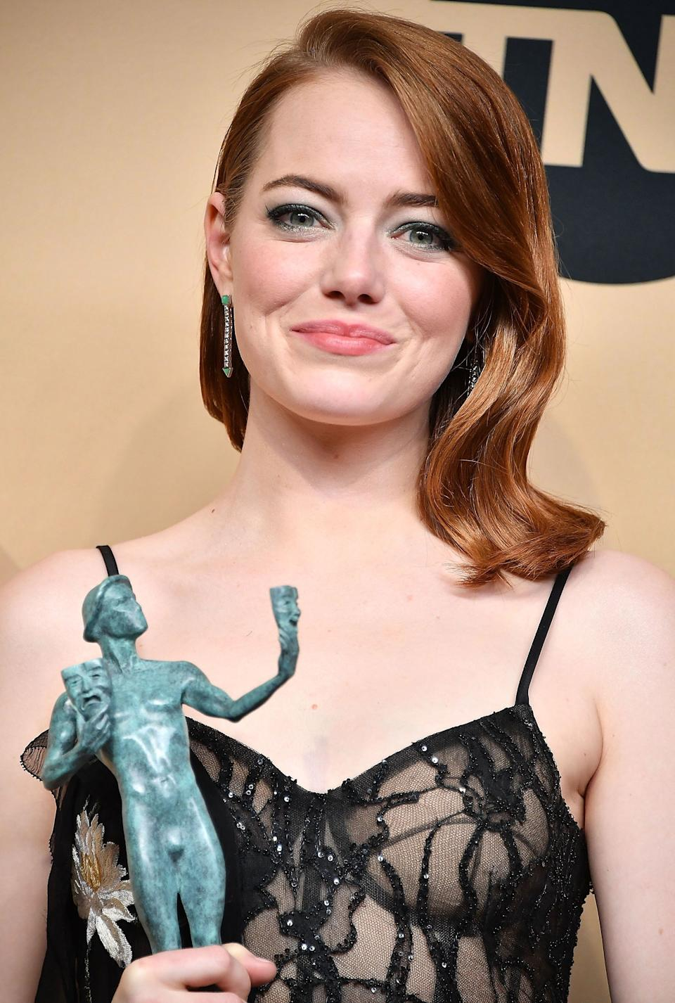 """Emma Stone also addressed the ban duringthe SAG Awards.<br /><br />""""We have to speak up. Staying silent only helps the oppressor, not the victim. Right now I hope that people seeing things that are being done that are unconstitutional and inhumane would say something."""""""