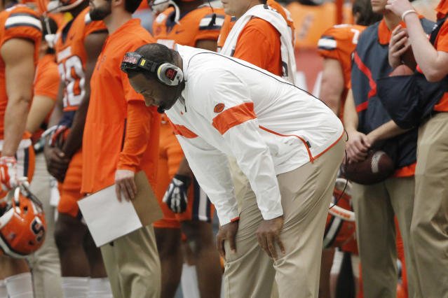 It's been a tough year for head coach Dino Babers and Syracuse. (AP Photo/Nick Lisi)