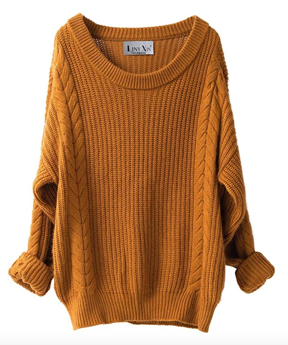 "<a href=""https://amzn.to/2G2I86u"" target=""_blank"" rel=""noopener noreferrer"">This oversize crew neck sweater</a> is available in one size in 23 colors. Find it for $40 on <a href=""https://amzn.to/2G2I86u"" target=""_blank"" rel=""noopener noreferrer"">Amazon</a>."