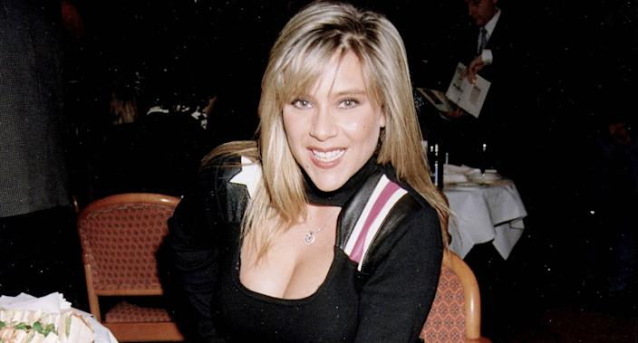 Samantha Fox on February 17, 1995 in London. (Photo by Dave Benett/Getty Images)