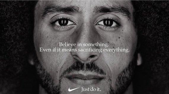"Former San Francisco quarterback Colin Kaepernick appears as the face of a Nike advertisement marking the 30th anniversary of its ""Just Do It"" slogan. (Reuters)"