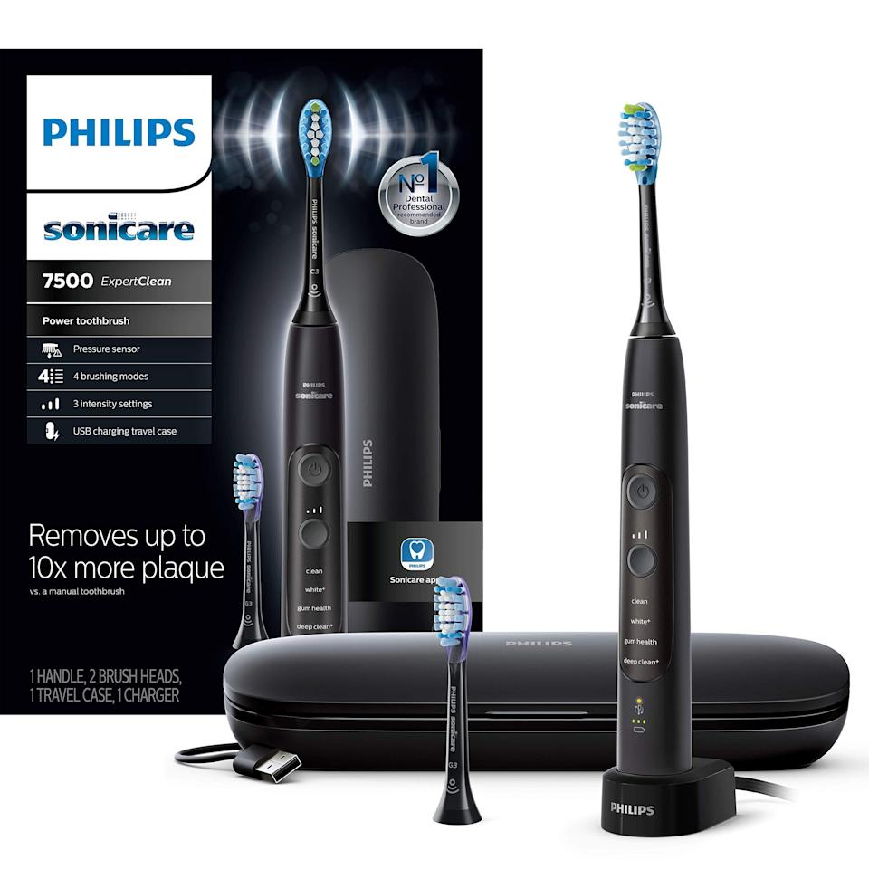 """<br><br><strong>Philips</strong> Sonicare ExpertClean 7500 Bluetooth Rechargeable Electr, $, available at <a href=""""https://amzn.to/313CFUr"""" rel=""""nofollow noopener"""" target=""""_blank"""" data-ylk=""""slk:Amazon"""" class=""""link rapid-noclick-resp"""">Amazon</a>"""