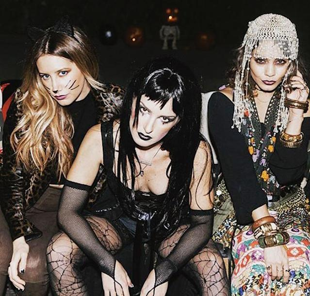 "<p>The trio of actresses got all dolled up days before Halloween to toast Grimes's birthday. ""A blonde, a brunette, and a gypsy walk into a bar … #happybirthdayshenae,"" Tisdale joked in the caption. Think the birthday girl was supposed to be Morticia Addams? (Photo: <a href=""https://www.instagram.com/p/BL7XkCagQBp/?hl=en"" rel=""nofollow noopener"" target=""_blank"" data-ylk=""slk:Instagram)"" class=""link rapid-noclick-resp"">Instagram)</a> </p>"