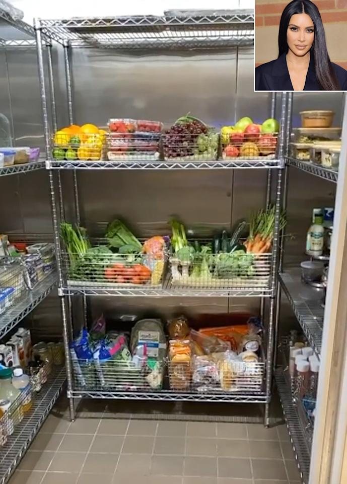 """After fans expressed bewilderment at her fridge - <a href=""""https://people.com/home/kim-kardashian-shows-off-5-more-refrigerators/"""">just as spare and empty as the rest of the house</a> - Kim gave them a look into her massive walk-in fridge (one of five) and pantry to assure them that she does, in fact, keep food in her refrigerators for her famiy."""
