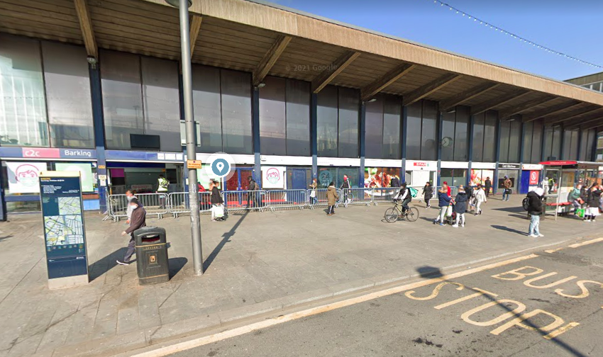 A man was struck with the base of a traffic cone at Station Approach, Barking, east London. (Google)