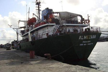 UAE owned ship Al Mezaan docks at the sea port of Mogadishu in Somalia on Saturday