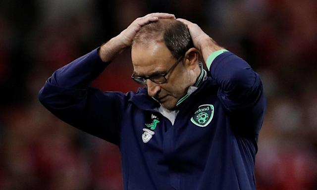 Martin O'Neill expresses his frustration during Republic of Ireland's 5-1 home defeat by Denmark in the World Cup qualifying play-off.