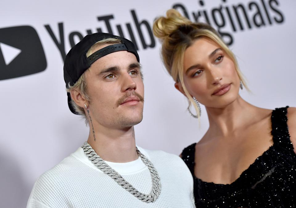 """Justin Bieber and Hailey Bieber attend the Premiere of YouTube Original's """"Justin Bieber: Seasons"""" at Regency Bruin Theatre on January 27, 2020 in Los Angeles, California. (Photo by Axelle/Bauer-Griffin/FilmMagic)"""