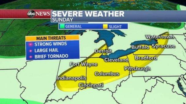 """PHOTO: There is a """"slight risk"""" for severe storms today from Indiana to upstate New York and the main threats here will be strong wind and potentially large hail, along with heavy downpours that may cause localized flooding. (ABC News)"""