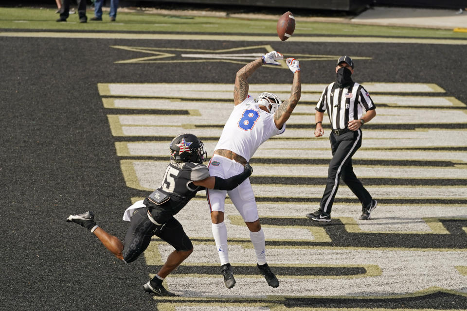 Vanderbilt cornerback Elijah Hamilton (15) breaks up a pass intended for Florida wide receiver Trevon Grimes (8) in the first half of an NCAA college football game Saturday, Nov. 21, 2020, in Nashville, Tenn. (AP Photo/Mark Humphrey)