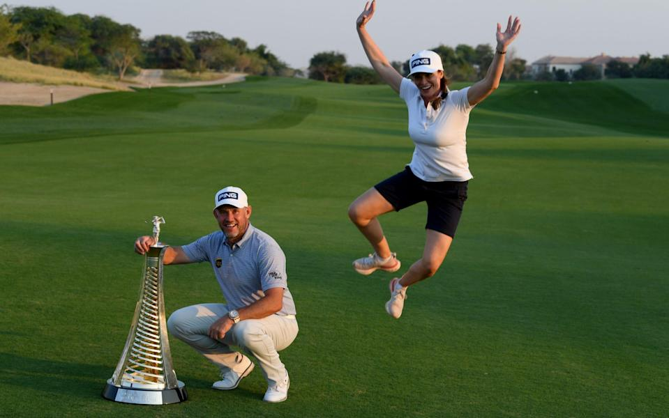 Westwood and Storey celebrate winning the Race to Dubai in December 2020 - GETTY IMAGES