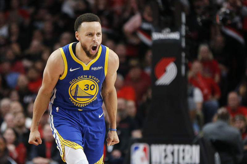 PORTLAND, OREGON - MAY 18: Stephen Curry #30 of the Golden State Warriors reacts during the second half against the Portland Trail Blazers in game three of the NBA Western Conference Finals at Moda Center on May 18, 2019 in Portland, Oregon. (Photo by Jonathan Ferrey/Getty Images)