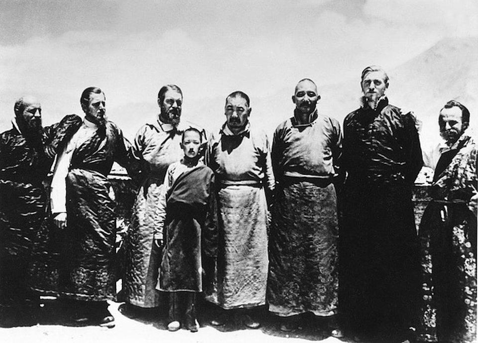 ERNST SCHAFER (1910-1992). German hunter and zoologist. Schafer (third from left) on his third expedition to Tibet, this one sponsored by the SS Ahnenerbe organization. Photographed in Shigatze, Tibet, 1939