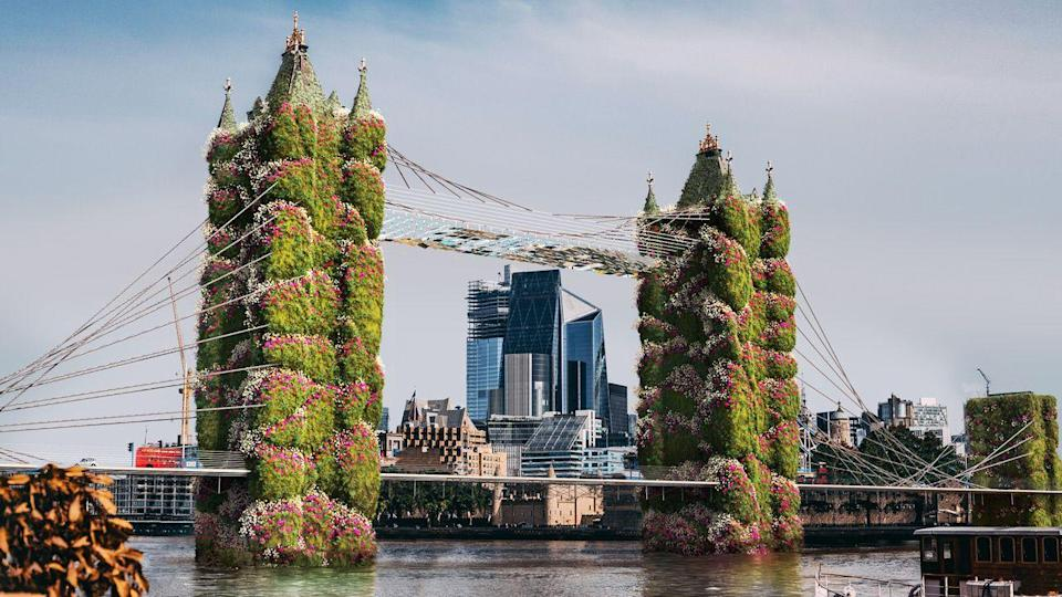 "<p>Beautiful flowers and bushes cover the famous suspension bridge in London, giving it added character and loveliness. </p><p>Tapping into Britain's historical association with grand manor houses and their pretty gardens, the tower is topped with ivy, as well as freesias, snapdragons, lisianthus, and meadowy foliage. </p><p><strong>Like this article? <a href=""https://hearst.emsecure.net/optiext/cr.aspx?ID=DR9UY9ko5HvLAHeexA2ngSL3t49WvQXSjQZAAXe9gg0Rhtz8pxOWix3TXd_WRbE3fnbQEBkC%2BEWZDx"" rel=""nofollow noopener"" target=""_blank"" data-ylk=""slk:Sign up to our newsletter"" class=""link rapid-noclick-resp"">Sign up to our newsletter</a> to get more articles like this delivered straight to your inbox.</strong></p><p><a class=""link rapid-noclick-resp"" href=""https://hearst.emsecure.net/optiext/cr.aspx?ID=DR9UY9ko5HvLAHeexA2ngSL3t49WvQXSjQZAAXe9gg0Rhtz8pxOWix3TXd_WRbE3fnbQEBkC%2BEWZDx"" rel=""nofollow noopener"" target=""_blank"" data-ylk=""slk:SIGN UP"">SIGN UP</a></p><p>Love what you're reading? Enjoy <a href=""https://go.redirectingat.com?id=127X1599956&url=https%3A%2F%2Fwww.hearstmagazines.co.uk%2Fhb%2Fhouse-beautiful-magazine-subscription-website&sref=https%3A%2F%2Fwww.housebeautiful.com%2Fuk%2Flifestyle%2Fproperty%2Fg36062205%2Ffamous-landmarks-biophilic-design%2F"" rel=""nofollow noopener"" target=""_blank"" data-ylk=""slk:House Beautiful magazine"" class=""link rapid-noclick-resp"">House Beautiful magazine</a> delivered straight to your door every month with Free UK delivery. Buy direct from the publisher for the lowest price and never miss an issue!</p><p><a class=""link rapid-noclick-resp"" href=""https://go.redirectingat.com?id=127X1599956&url=https%3A%2F%2Fwww.hearstmagazines.co.uk%2Fhb%2Fhouse-beautiful-magazine-subscription-website&sref=https%3A%2F%2Fwww.housebeautiful.com%2Fuk%2Flifestyle%2Fproperty%2Fg36062205%2Ffamous-landmarks-biophilic-design%2F"" rel=""nofollow noopener"" target=""_blank"" data-ylk=""slk:SUBSCRIBE"">SUBSCRIBE</a></p>"