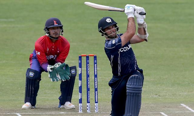 Kyle Coetzer hits out in the win over Nepal earlier this month. Scotland reached the Super Sixes and will almost certainly qualify if they can defeat West Indies on Wednesday.