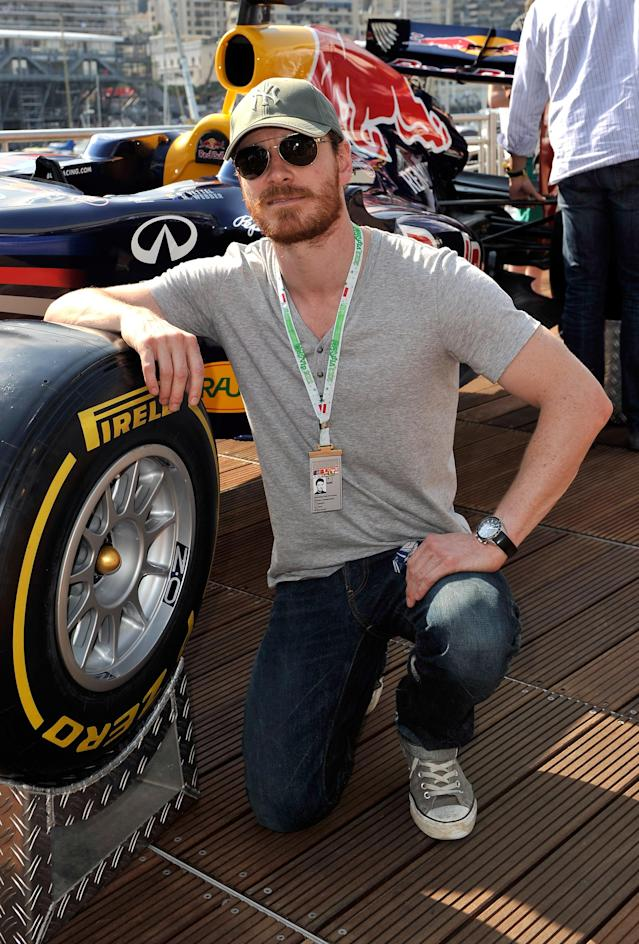 MONTE-CARLO, MONACO - MAY 26: Michael Fassbender on the Red Bull Energy Station during qualifying for the Monaco Formula One Grand Prix at the Monte Carlo Circuit on May 26, 2012 in Monte Carlo, Monaco. (Photo by Gareth Cattermole/Getty Images)