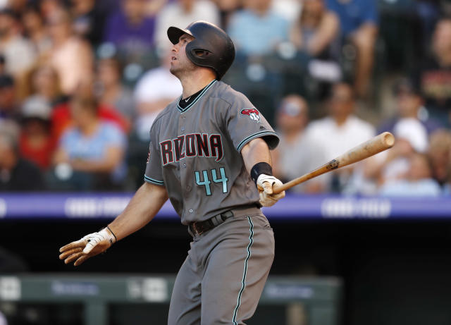 Arizona Diamondbacks' Paul Goldschmidt watches his two-run home run off Colorado Rockies starting pitcher German Marquez during the third inning of a baseball game Friday, June 8, 2018, in Denver. (AP Photo/David Zalubowski)